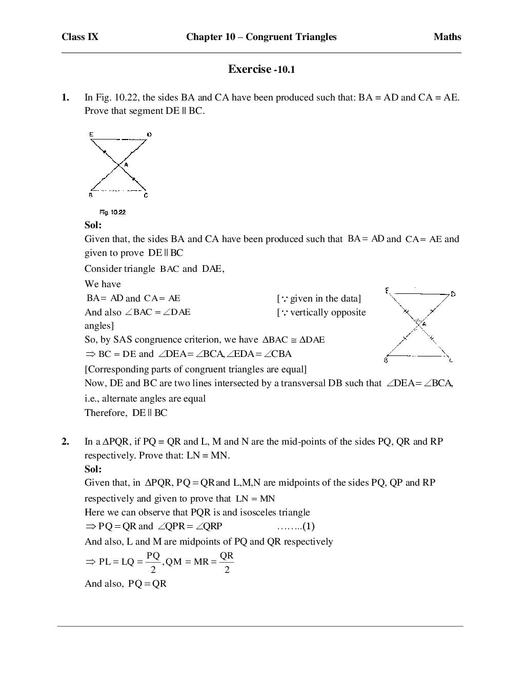Download Free RD Sharma Maths Solutions For Class-IX - Congruent ...