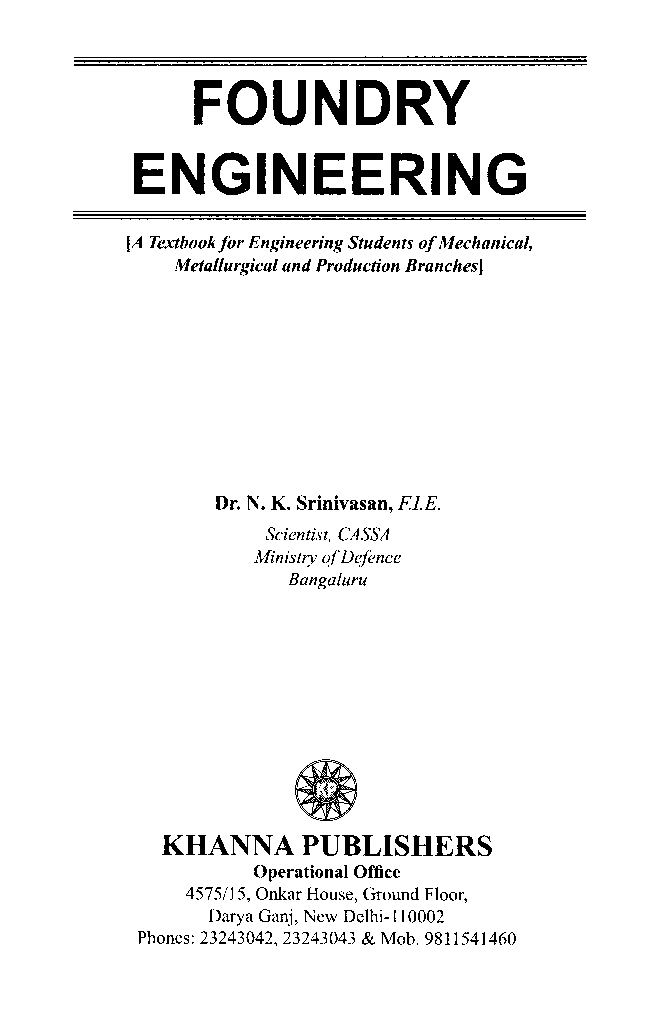 Foundry engineering by dr n k srinivasan pdf download ebook foundry engineering by dr n k srinivasan fandeluxe Image collections