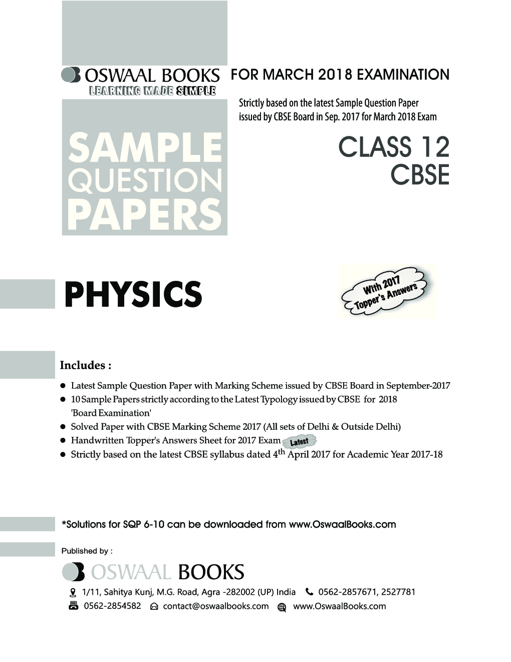 Oswaal cbse sample question papers for class xii physics mar oswaal cbse sample question papers for class xii physics mar 2018 exam by panel of experts fandeluxe Image collections