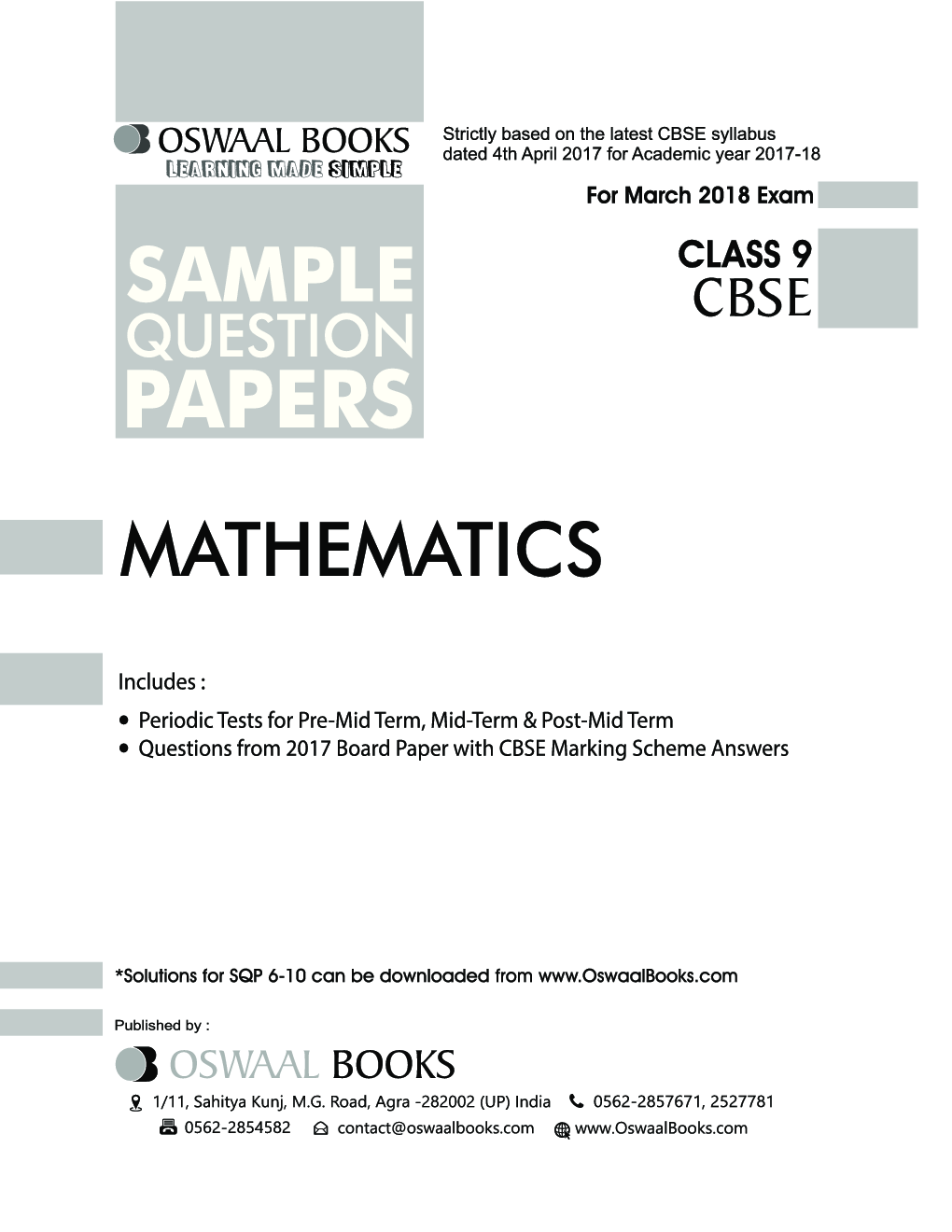Download Oswaal CBSE Sample Question Papers Class IX Mathematics (Mar  2018  Exam) by Panel Of Experts PDF Online