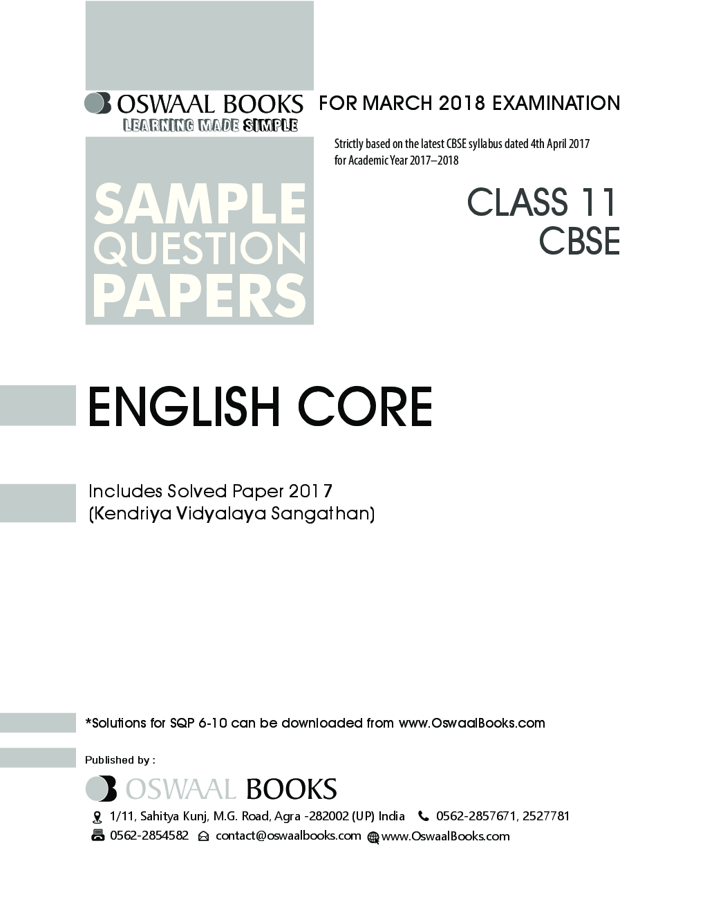 Download Oswaal CBSE Sample Question Papers For Class XI English Core (Mar   2018 Exam) by Panel Of Experts PDF Online