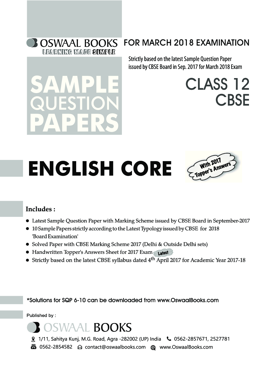 Download Oswaal CBSE Sample Question Papers For Class XII English Core  (Mar  2018 Exam) by Panel Of Experts PDF Online