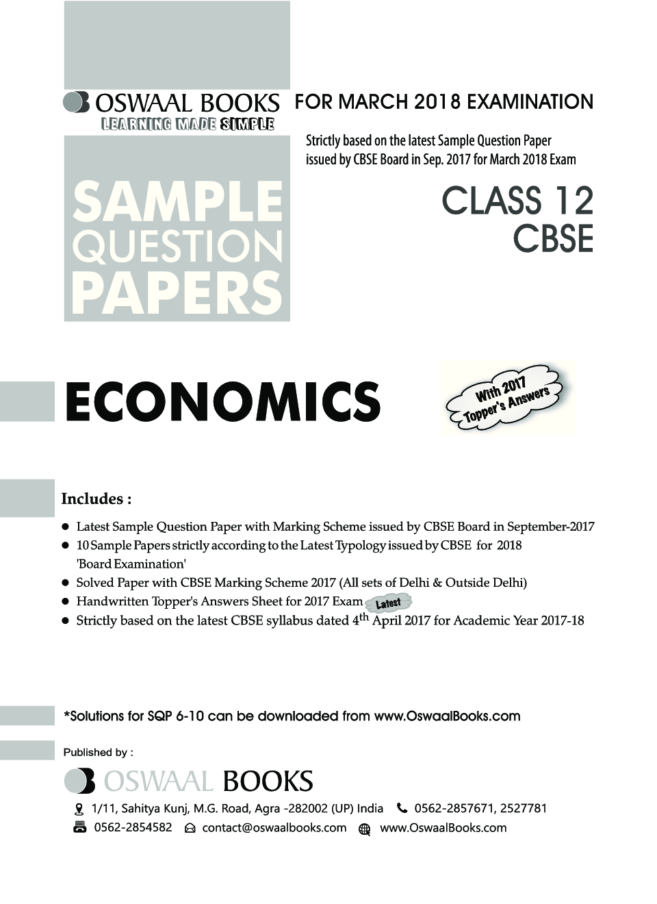 Download Oswaal CBSE Sample Question Papers For Class XII Economics (Mar   2018 Exam) by Panel Of Experts PDF Online