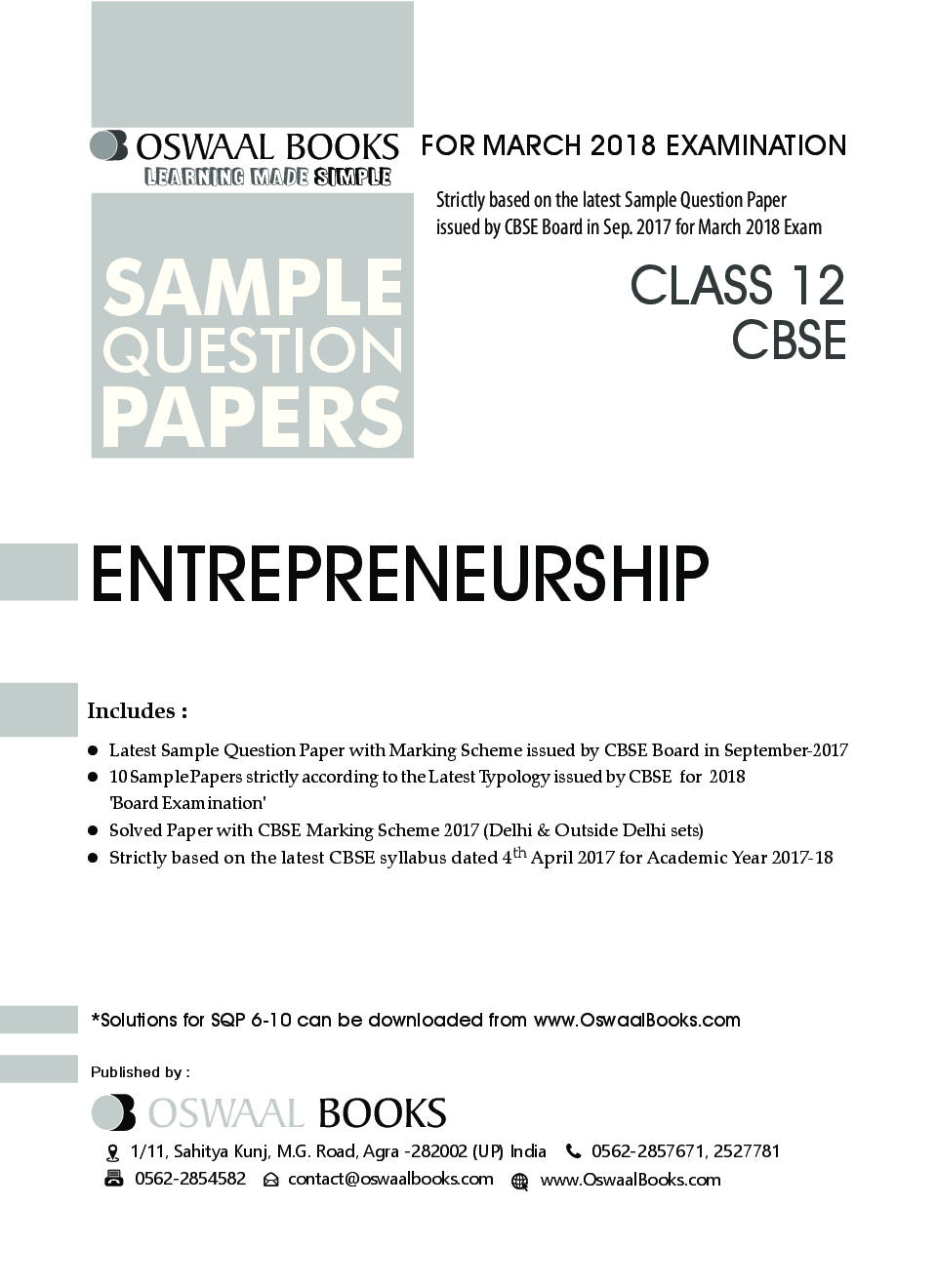 Download Oswaal CBSE Sample Question Papers For Class XII Entrepreneurship  (Mar  2018 Exam) by Panel Of Experts PDF Online