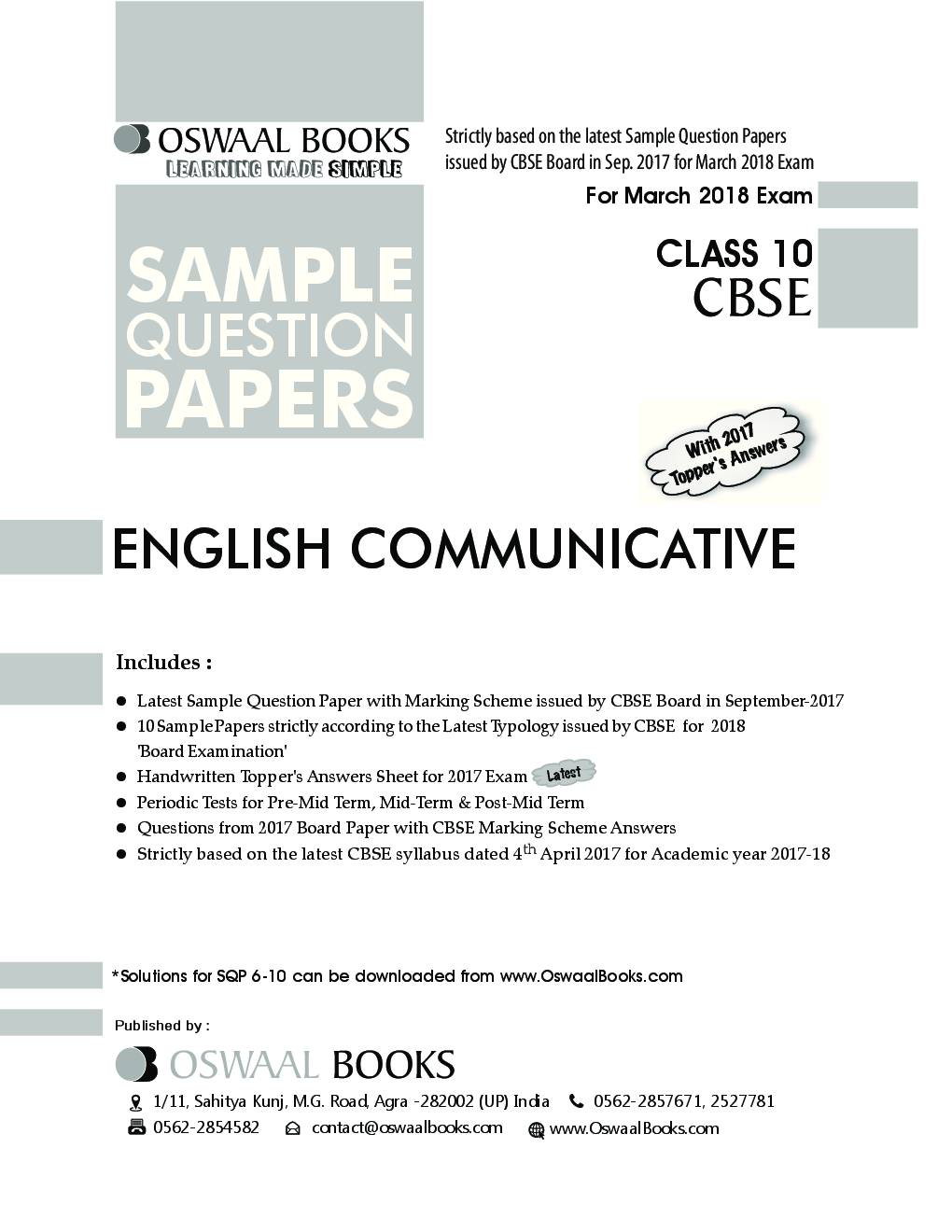 Download Oswaal CBSE Sample Question Papers Class X English Communicative  (Mar  2018 Exam) by Panel Of Experts PDF Online