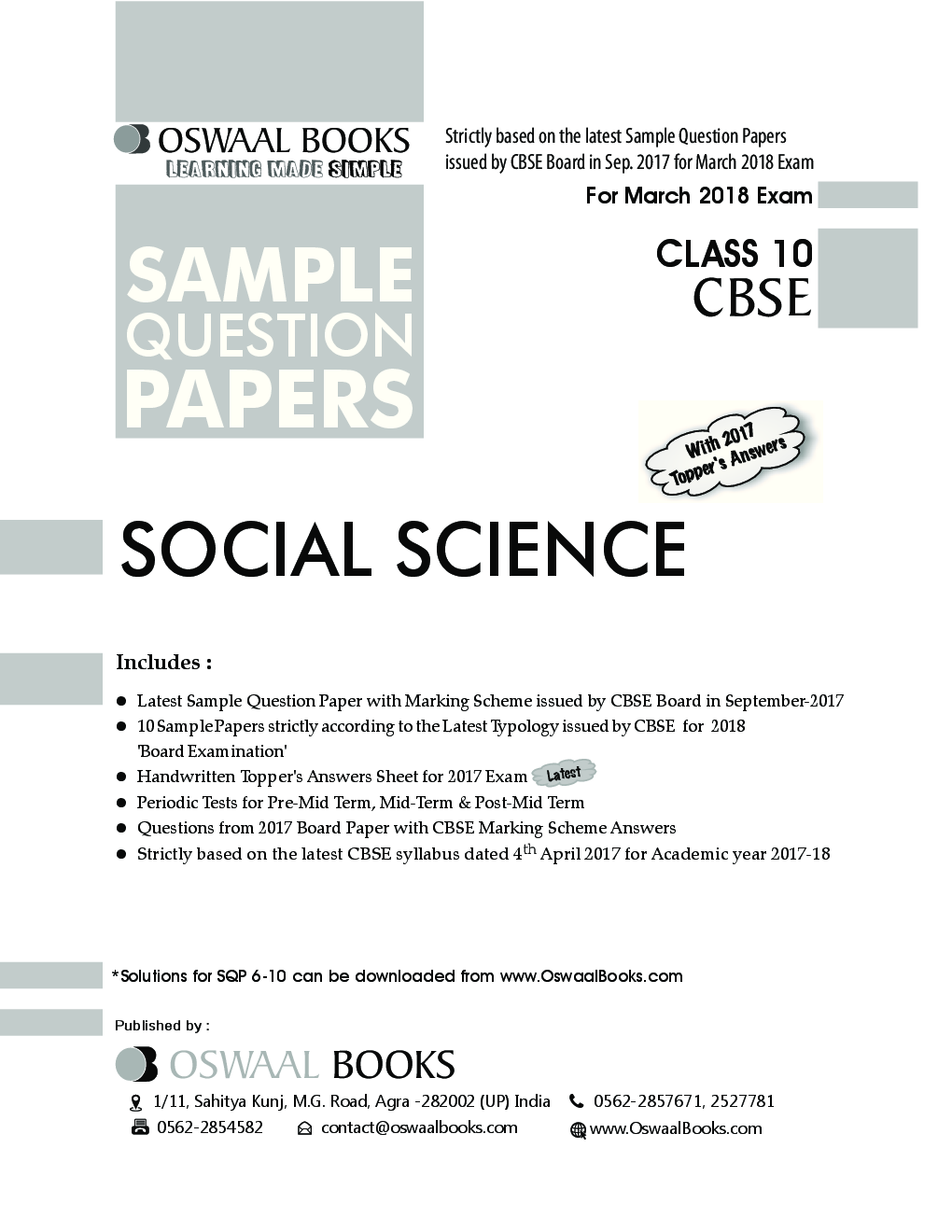 Download Oswaal CBSE Sample Question Papers Class X Social Science (Mar   2018 Exam) by Panel Of Experts PDF Online