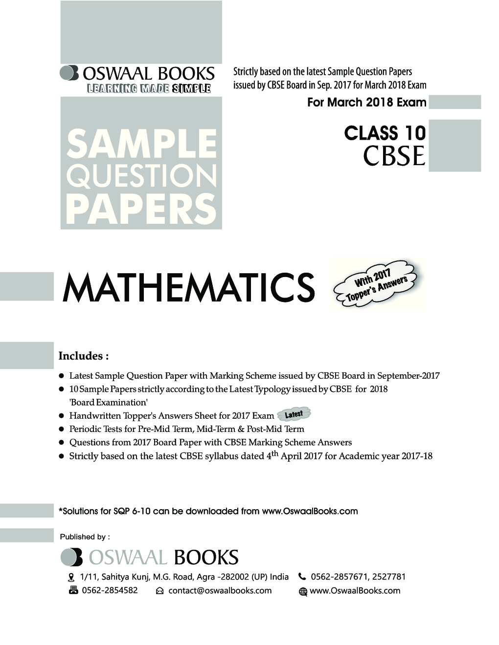 Download Oswaal CBSE Sample Question Papers Class X Maths (Mar  2018 Exam)  by Panel Of Experts PDF Online