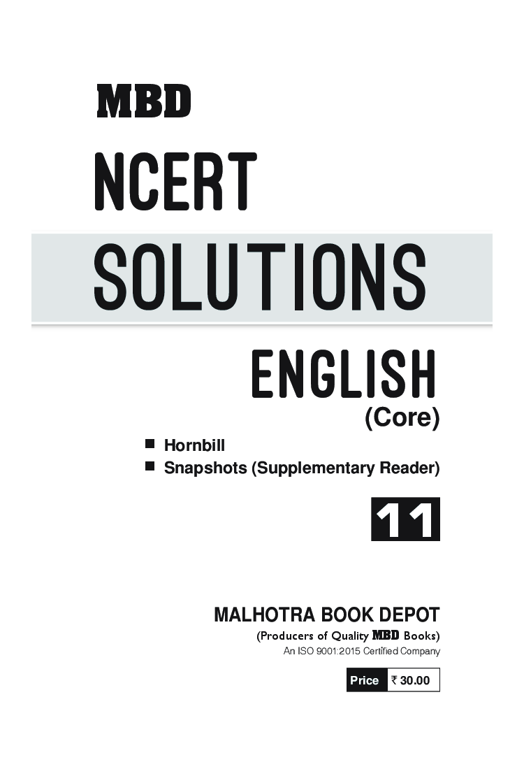 MBD NCERT Solutions English Core For Class-XI - Page 3