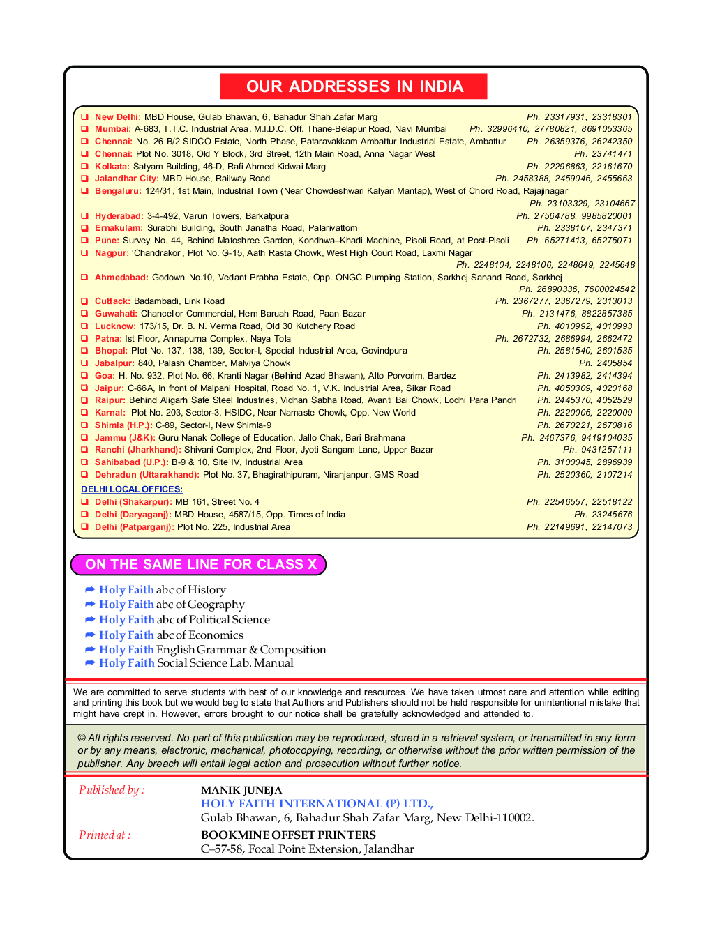 Experience In Web Reader. Holy Faith ABS Of Social Science Political Science  For Class-X ...