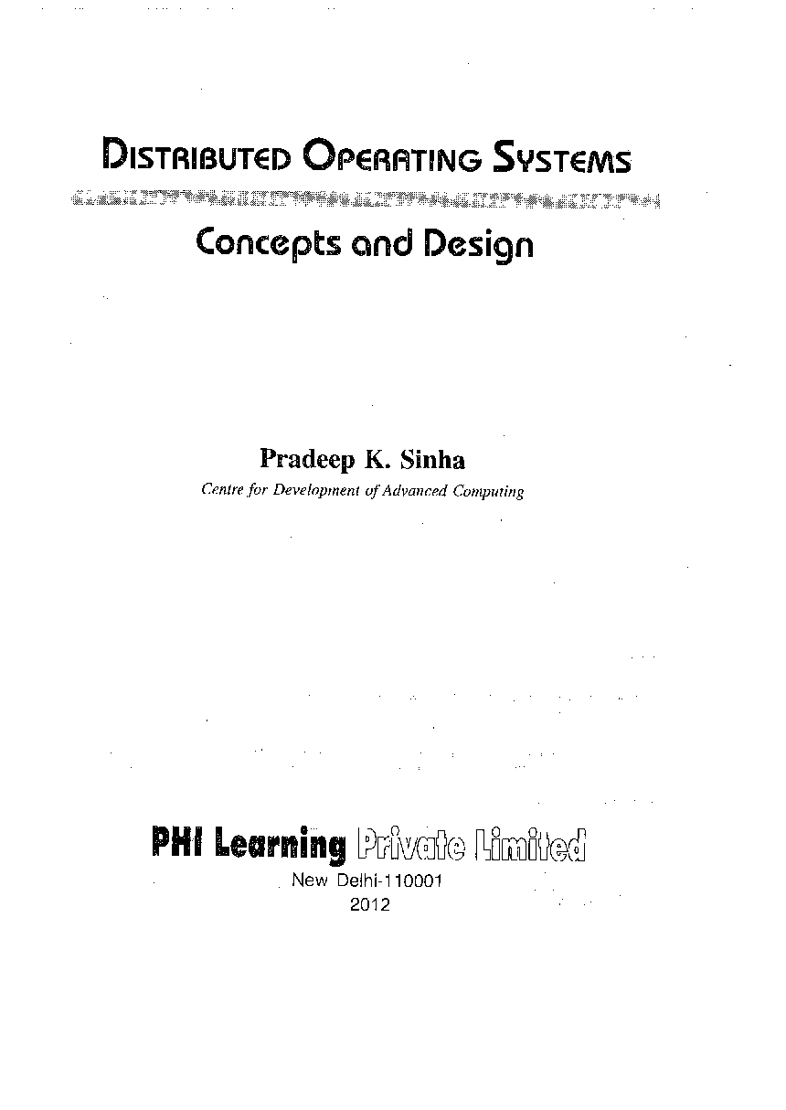 Download Distributed Operating Systems Concepts And Design By Pradeep K Sinha Pdf Online