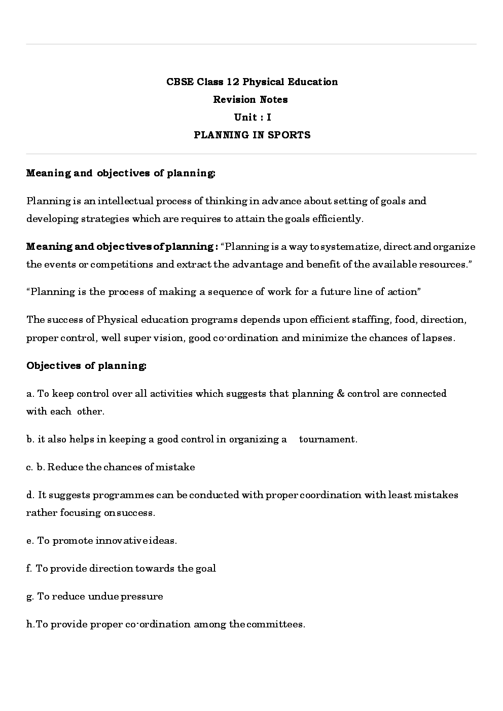 CBSE Class 12 Physical Education Revision Notes  Planning In Sports - Page 2