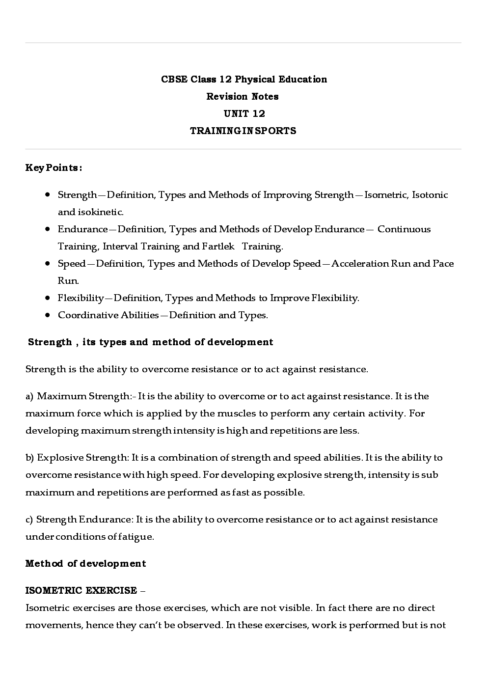 CBSE Class 12 Physical Education Revision Notes Training And Sports - Page 2