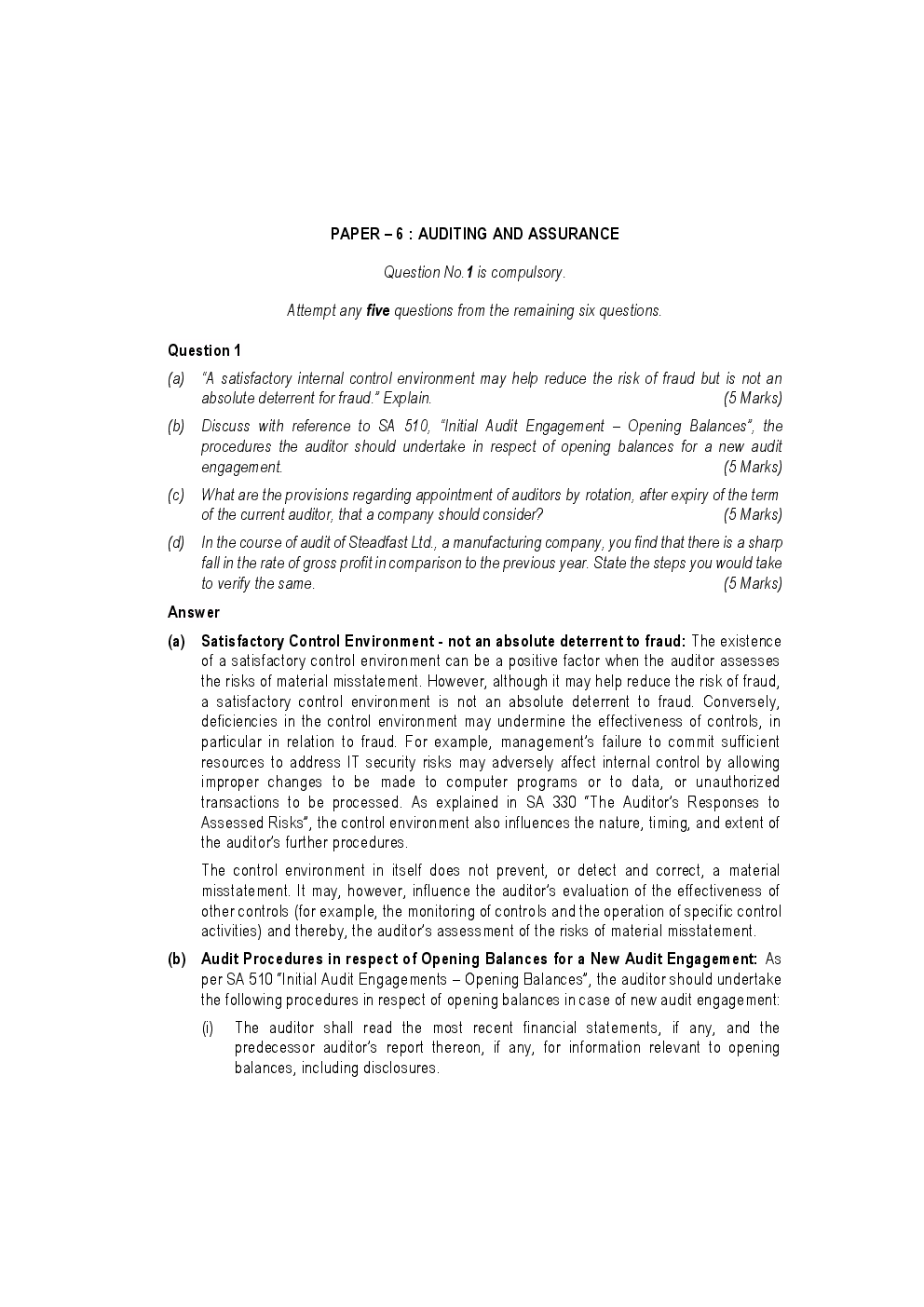 CA IPCC For Auditing And Assurance May 2017 Previous Year Paper Question With Answer - Page 2