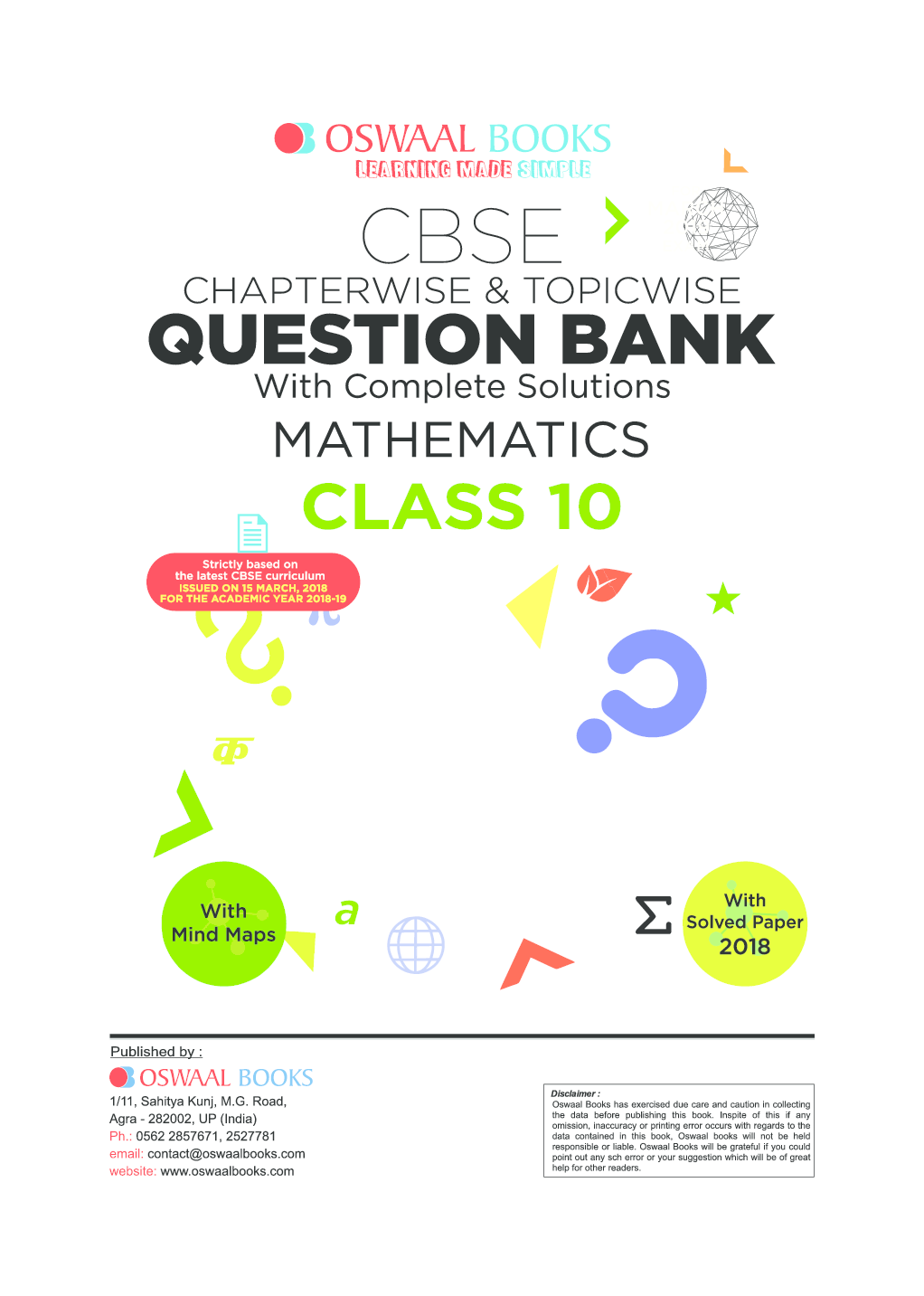 Download Oswaal CBSE Chapterwise & Topicwise Question Bank For Class-10  Mathematics (Mar 2019 Exam) by Panel Of Experts PDF Online