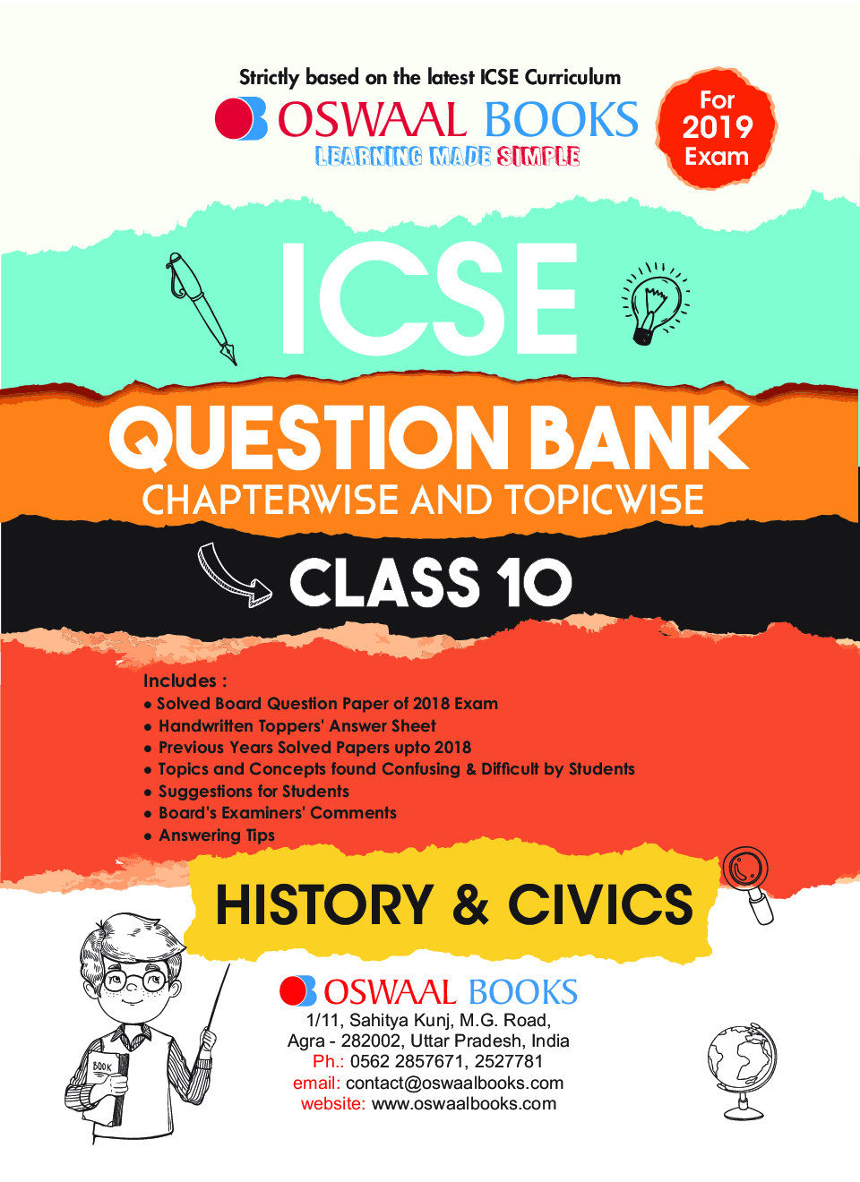 Download Oswaal ICSE Question Bank Chapterwise & Topicwise Class - X  History & Civics For 2019 Exam by Panel Of Experts PDF Online