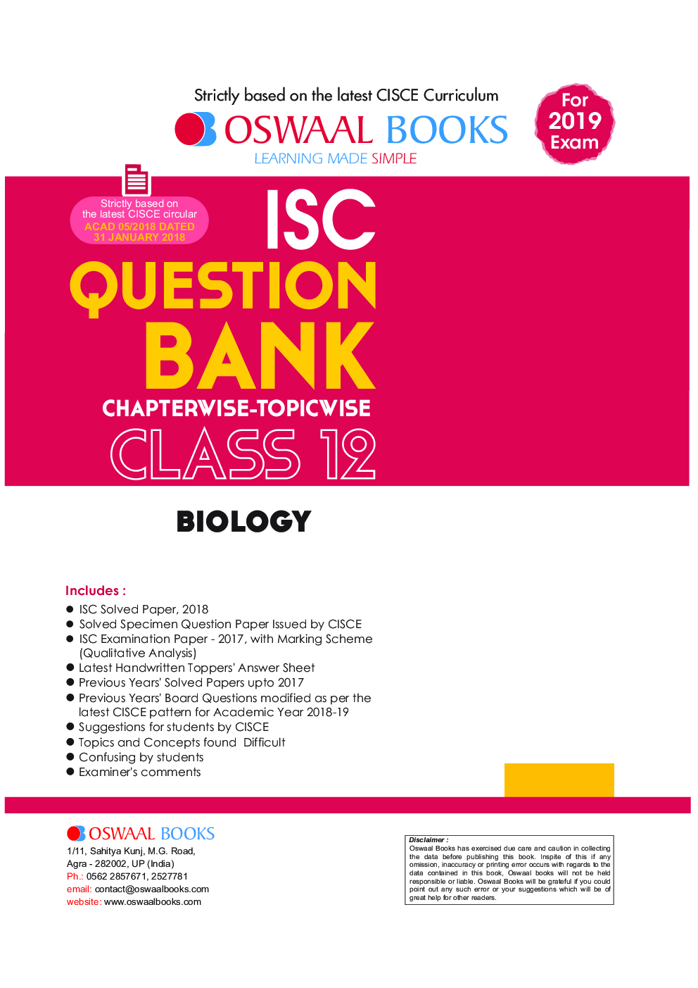 Download Oswaal ISC Question Bank Chapterwise & Topicwise Class - XII  Biology For 2019 Exam by Panel Of Experts PDF Online