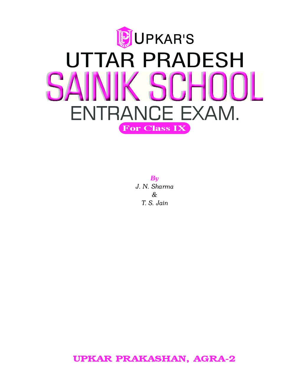 Uttar Pradesh Sainik School Entrance Exam For Class - IX - Page 2