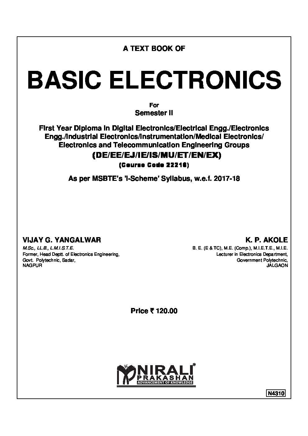 Download Basic Electronics By Vijay G Yangalwar K P Akole Pdf Online