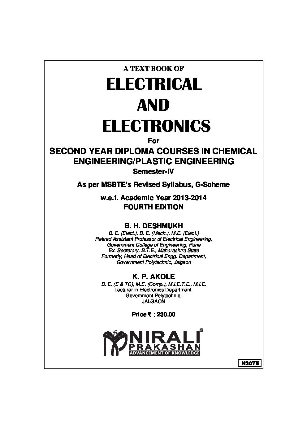 Download Electrical And Electronics By B H Deshmukh K P Akole Pdf Online