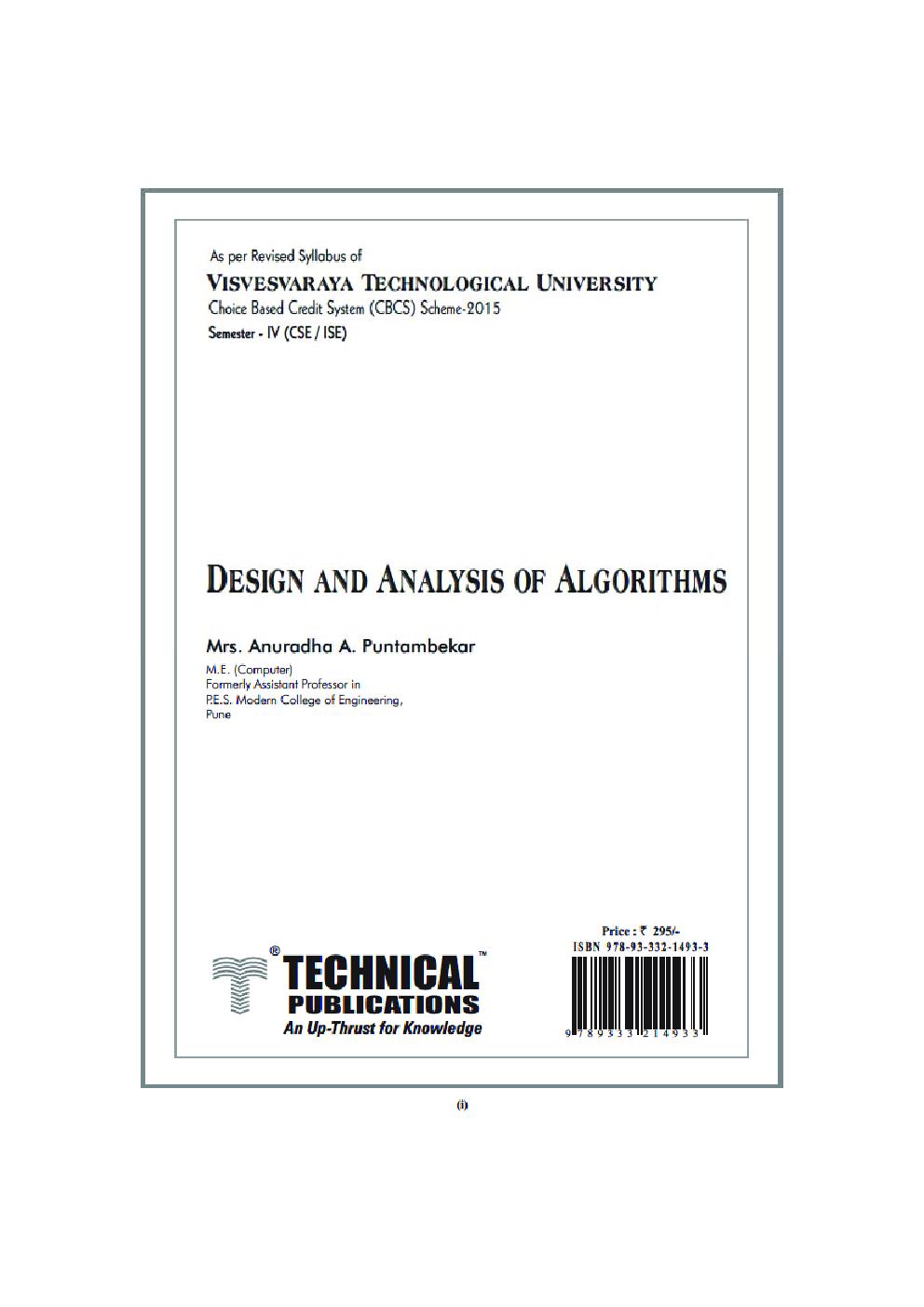 Design And Analysis Of Algorithms For VTU Course 17 CBCS (IV- CSE - 17CS43) - Page 2