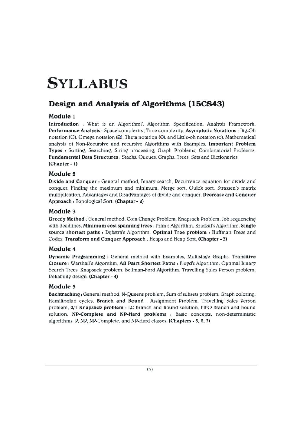 Design And Analysis Of Algorithms For VTU Course 17 CBCS (IV- CSE - 17CS43) - Page 5