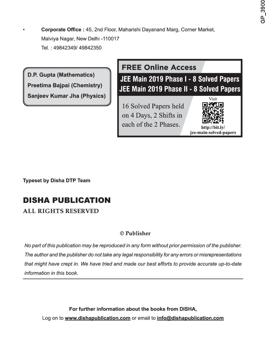 18 Years JEE MAIN Chapterwise Solved Papers (2002 - 19) 11th Edition - Page 3