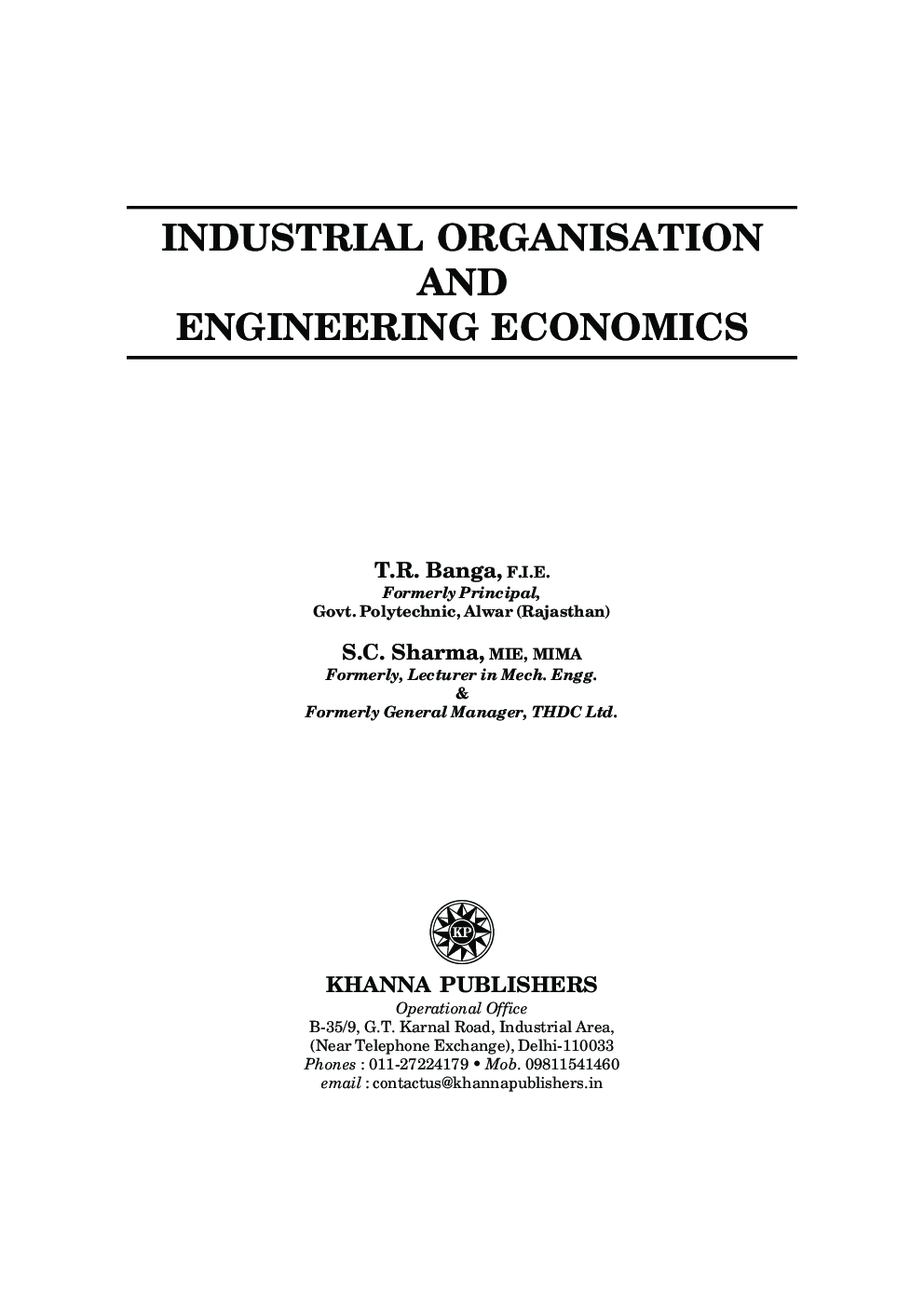 Industrial Organisation And Engineering Economics - Page 2