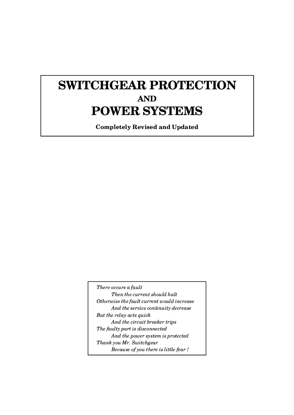 Switchgear and protection by sunil s rao pdf