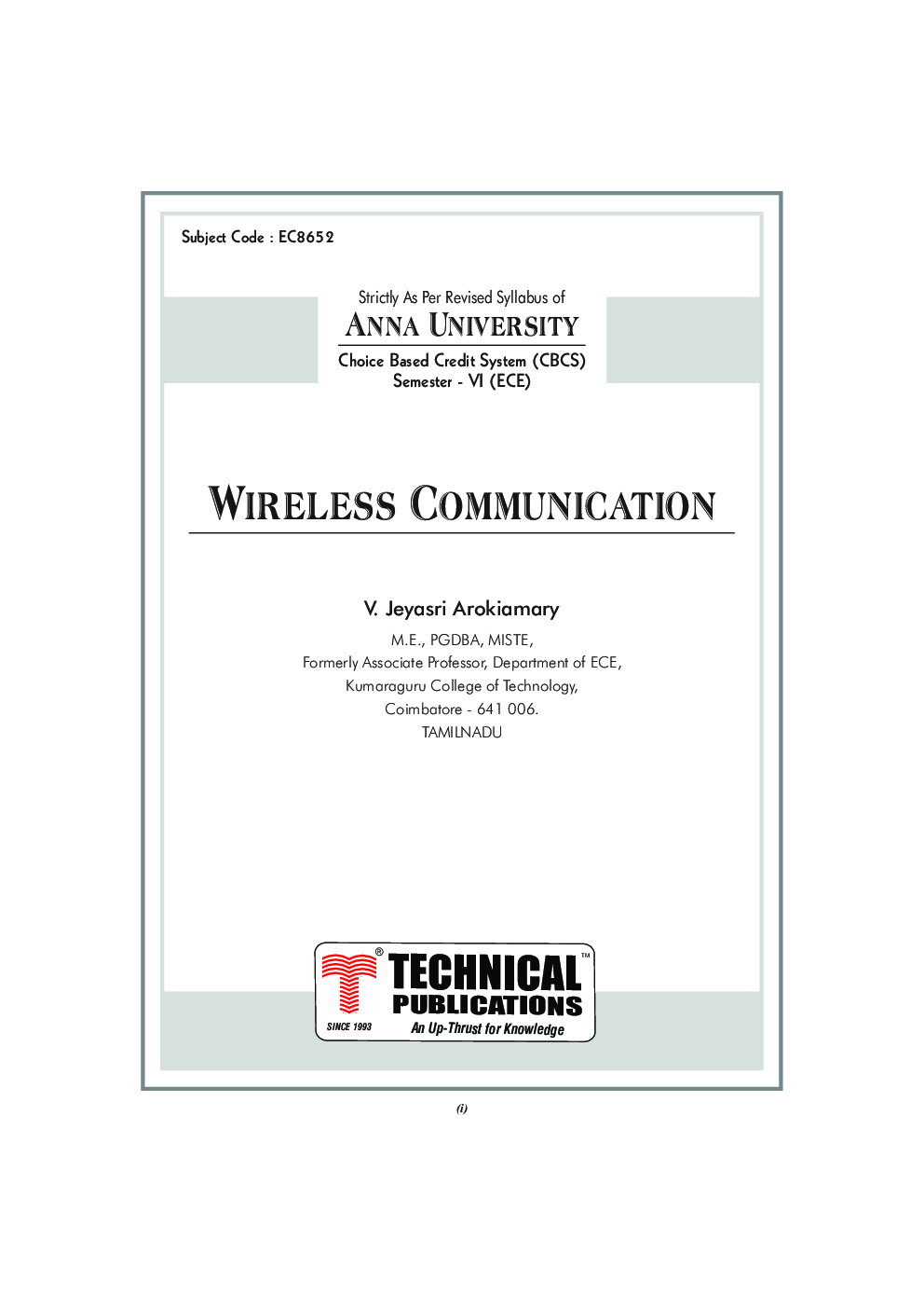 CELLULAR AND MOBILE COMMUNICATIONS BY V.JEYASRI AROKIAMARY PDF
