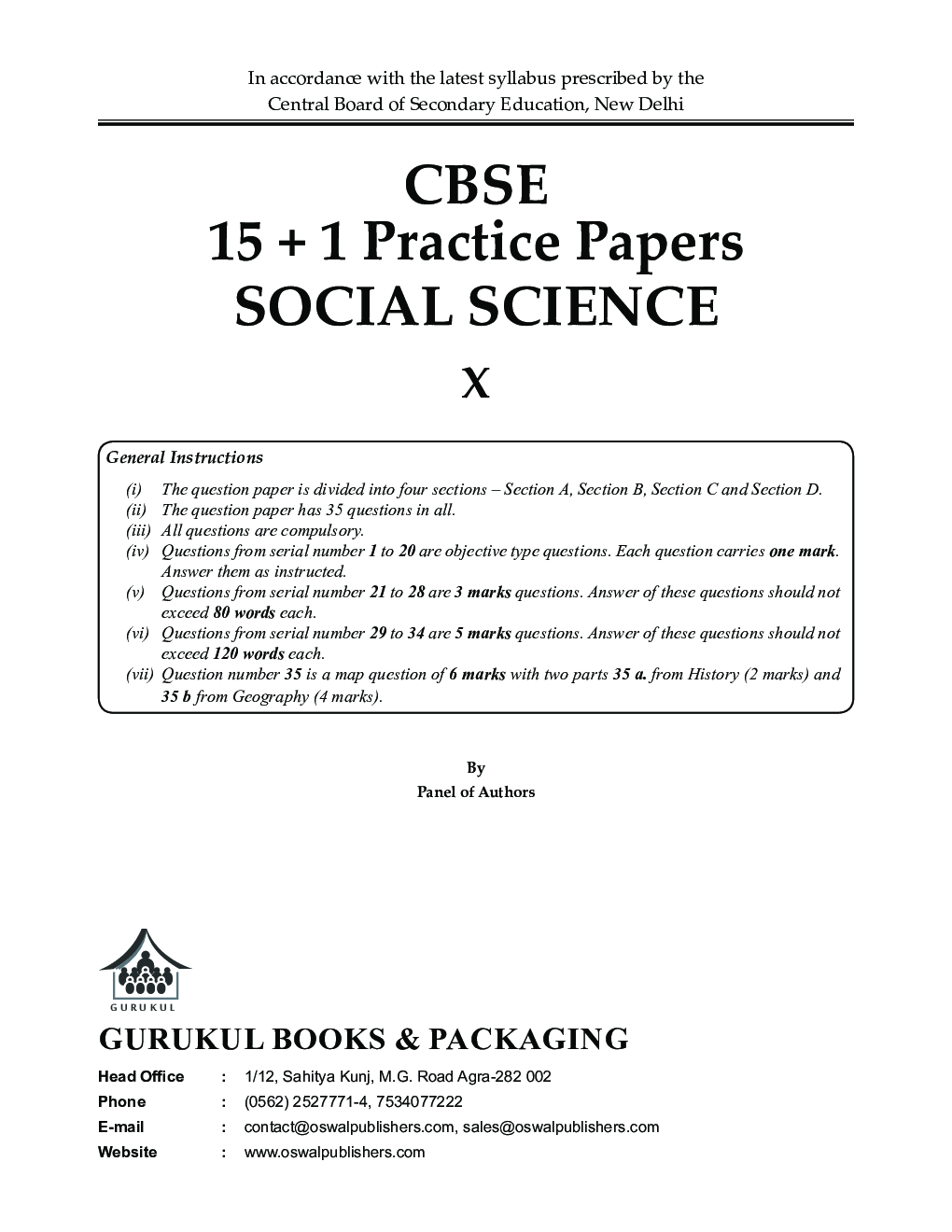 Oswal CBSE 15 + 1 Practice Papers - Social Science For Class X (For 2020 Exams) - Page 2