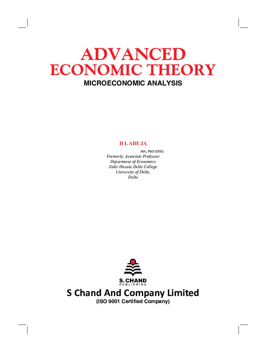 Advanced Economic Theory (Microeconomic Analysis) - Page 2