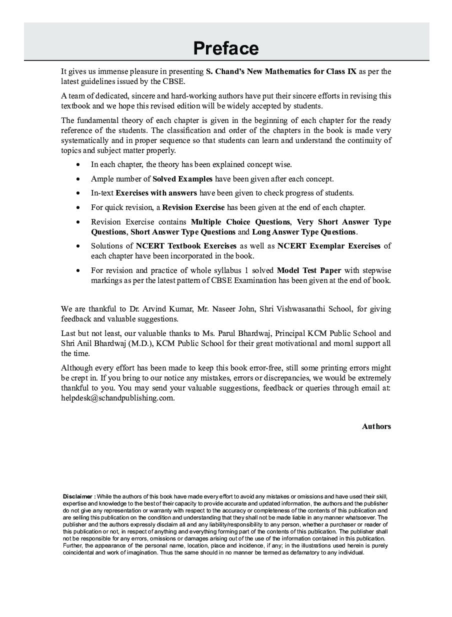 S. Chand\'s  New Mathematics Class IX - Page 4