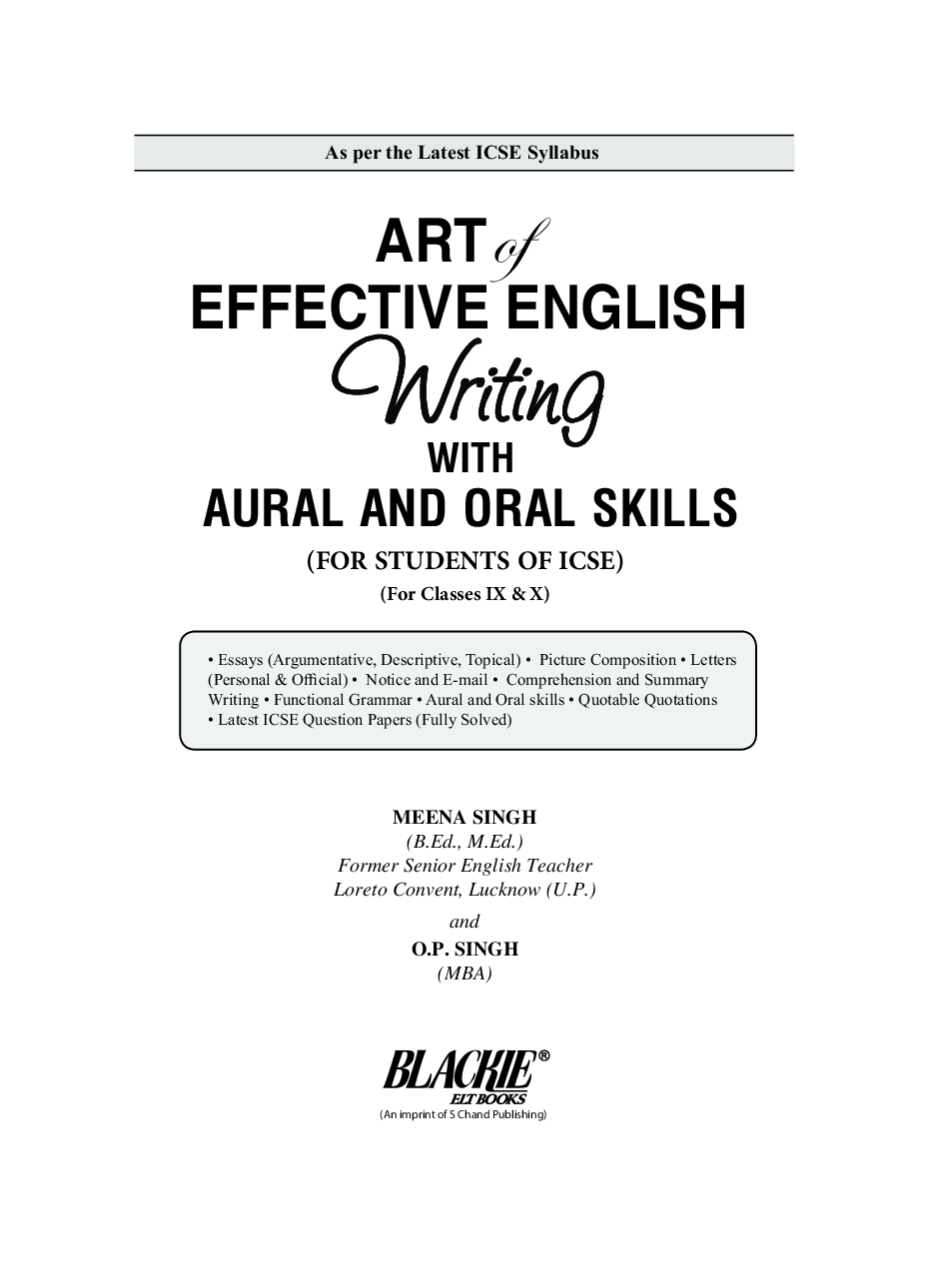 ICSE Art of Effective English Writing for Classes IX-X (2021 Edition) - Page 2