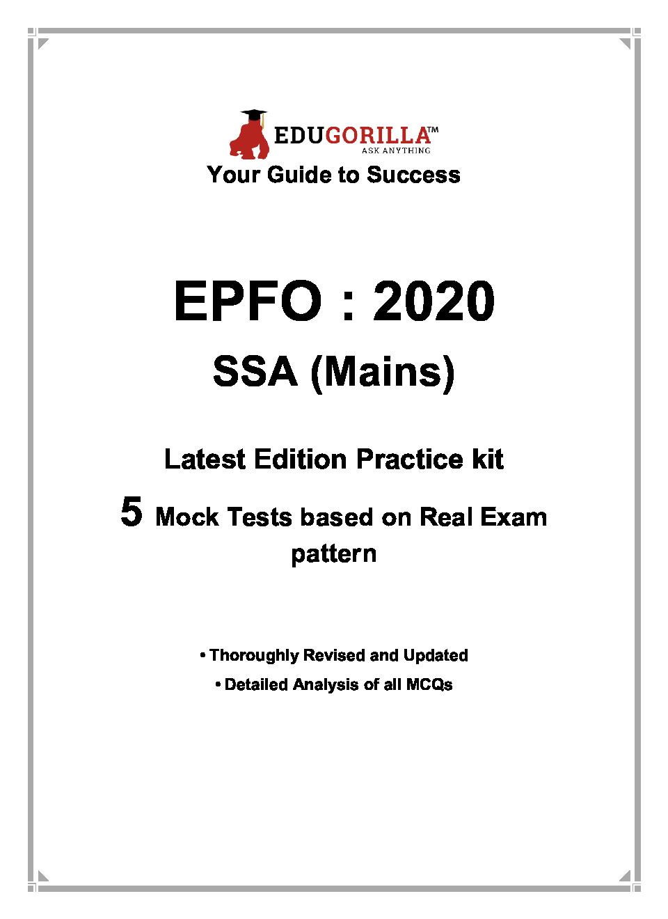 EduGorilla EPFO SSA (Mains) - 2020 - 5 Mock Test - Latest Edition Practice Kit - Page 3