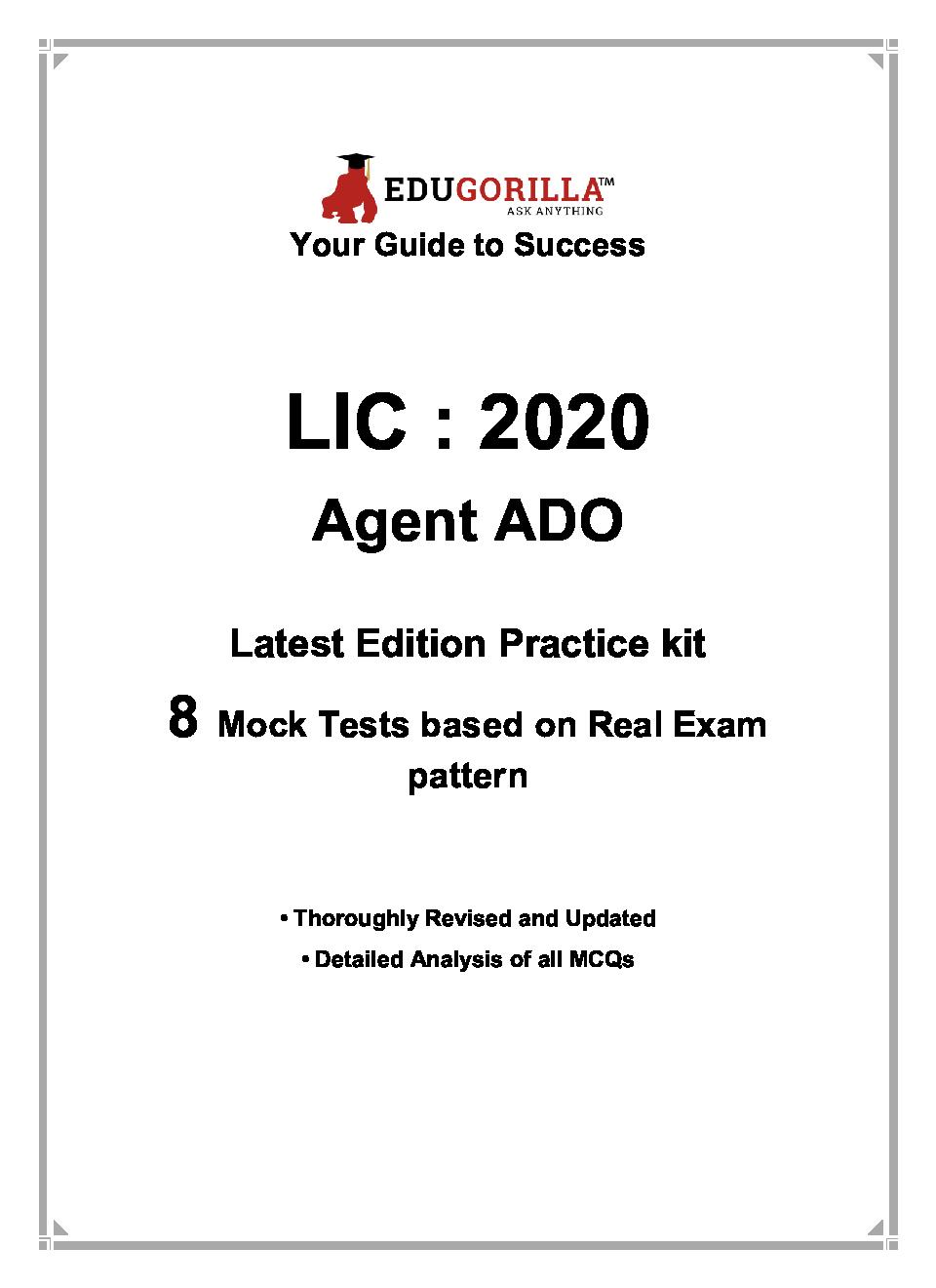 EduGorilla LIC Agent ADO 2020 - 8 Mock Tests -  Latest Edition Practice Kit - Page 3