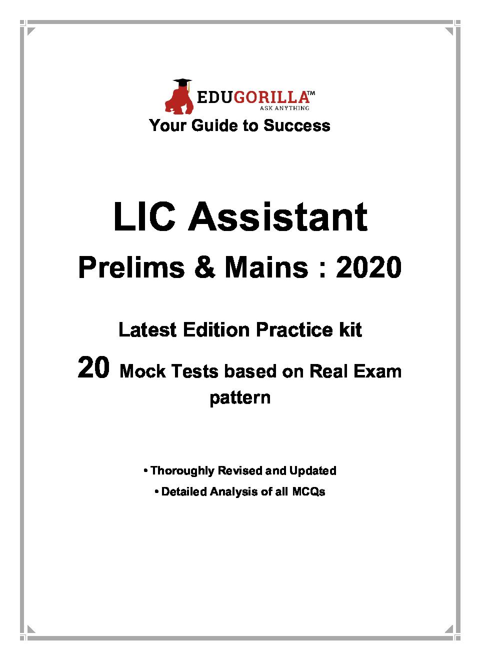 EduGorilla LIC Assistant Prelims & Mains Exam 2020 | 20 Mock Test - Page 3