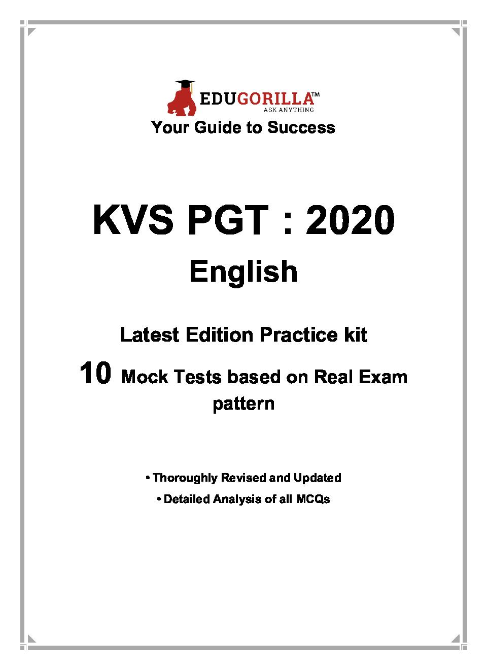 EduGorilla KVS PGT (English) 2020 | 10 Full-length Mock Test + Sectional Test - Page 3