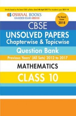 Oswaal Unsolved Paper Question Bank Class 10 Mathematics (March 2018 Exam)