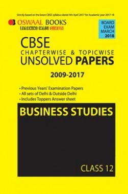 Oswaal Unsolved Paper Question Bank Class 12 Business Studies (March 2018 Exam)