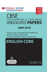 Oswaal CBSE Chapterwise & Topicwise Unsolved Papers Class - XII English Core For 2019 Exam