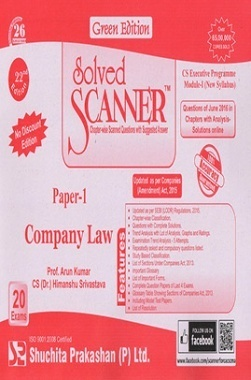 Solved Scanner CS Executive Progamme Module-I New Syllabus Paper-1 Company Law Green Edition (Jul-2016)