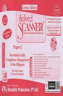Solved Scanner CS Professional Programme Module-I New Syllabus Paper-2 Secretarial Audit Compliance Management And Due Diligence Green Edition (Jul-2016)