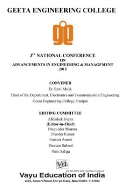 National Conference on Advancements in Engineering and Management By Er. Ravi Malik
