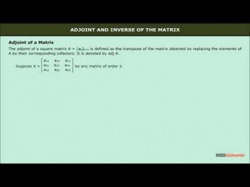 Class 12 Maths - Adjoint And Inverse Of The Matrix Video by MBD Publishers