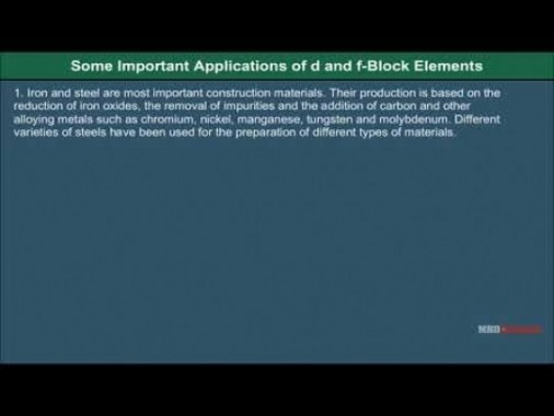 Class 12 Chemistry - Applications Of D And F Block Elements Video by MBD Publishers