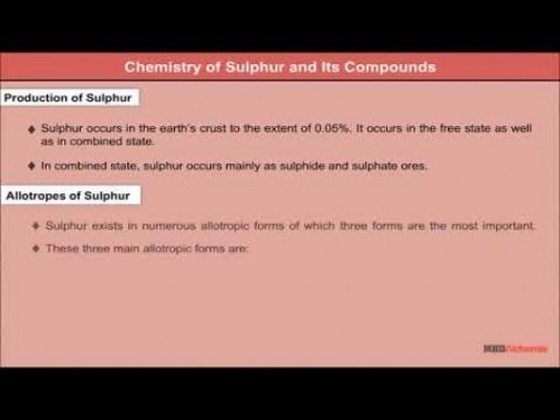 Class 12 Chemistry - Chemistry Of Sulphur And Its Compounds Video by MBD Publishers