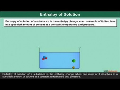 Class 11 Chemistry - Enthalpy Of Solution Video by MBD Publishers