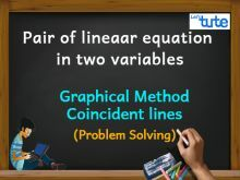 Pair Of Linear Equations In Two Variables - Graphical Method - Coincident lines - PS Video By Lets Tute