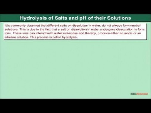 Class 11 Chemistry - Hydrolysis Of Salts And pH Of Their Solutions Video by MBD Publishers