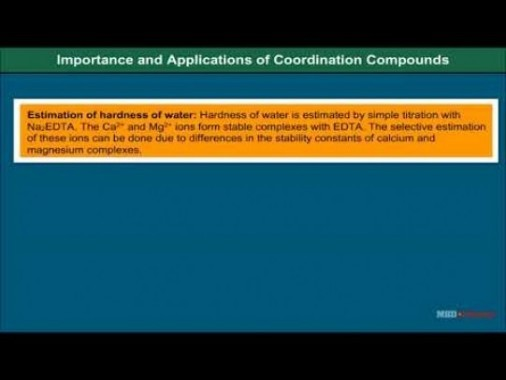 Class 12 Chemistry - Importance And Applications Of Coordination Compounds Video by MBD Publishers